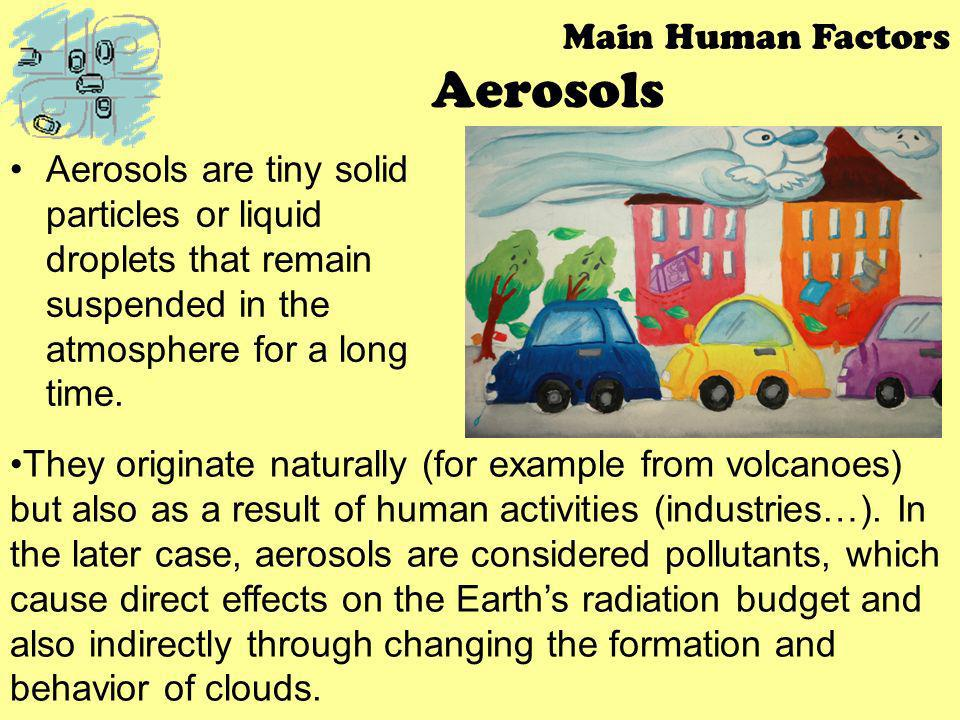 Aerosols Aerosols are tiny solid particles or liquid droplets that remain suspended in the atmosphere for a long time. Main Human Factors They origina
