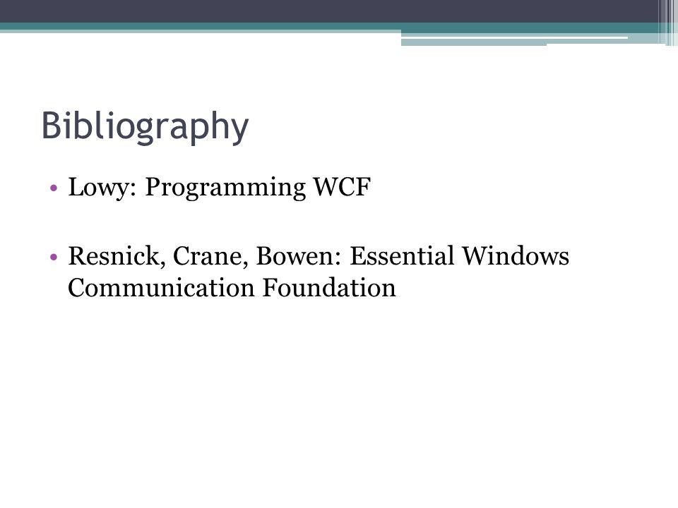 Bibliography Lowy: Programming WCF Resnick, Crane, Bowen: Essential Windows Communication Foundation