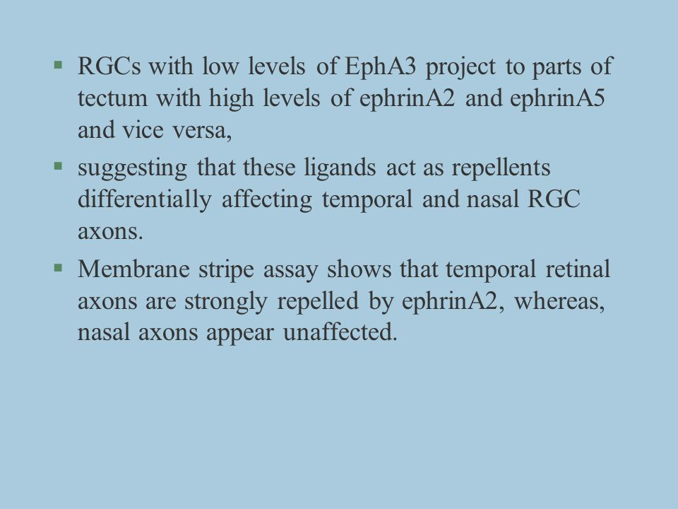 §RGCs with low levels of EphA3 project to parts of tectum with high levels of ephrinA2 and ephrinA5 and vice versa, §suggesting that these ligands act