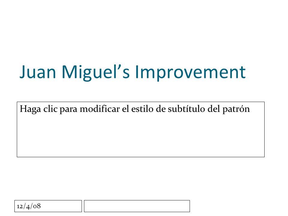 Haga clic para modificar el estilo de subtítulo del patrón 12/4/08 Juan Miguels Improvement