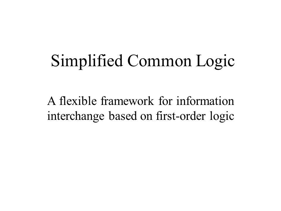Simplified Common Logic SCL ad-hoc working group (formed Dec 2002): Pat Hayes IHMC, US Christopher Menzel Texas A&M U., US John Sowa VivoMind, US Tanel Tammet U.