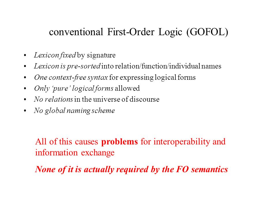 conventional First-Order Logic (SCL) Lexicon fixed by signature No signature required Lexicon is pre-sorted into relation/function/individual names Lexical categories implicit One context-free syntax for expressing logical forms Syntactic options may be user-defined Only pure logical forms allowed SCL can be intermixed with other content, including XML markup No relations in the universe of discourse No restrictions on universe of quantification No global naming scheme Uses WWW standard URI conventions SCL is first-order logic with syntactic limitations removed and network use in mind.