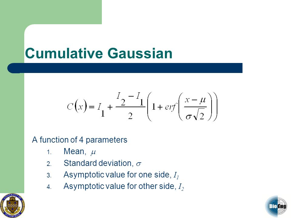 Cumulative Gaussian A function of 4 parameters 1. Mean, 2. Standard deviation, 3. Asymptotic value for one side, I 1 4. Asymptotic value for other sid