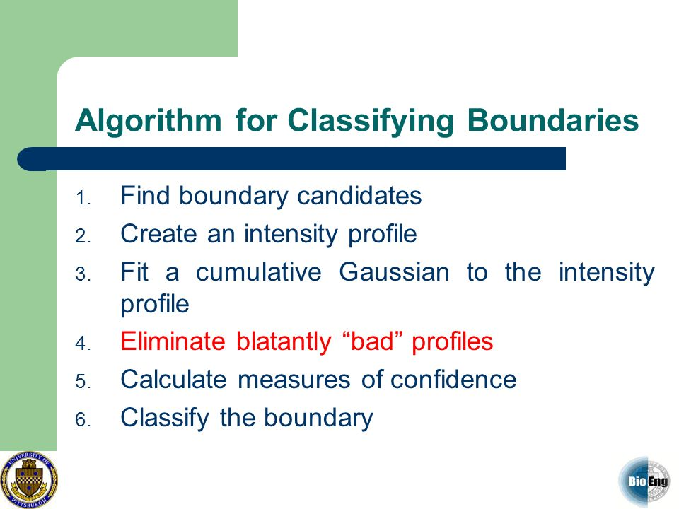 Algorithm for Classifying Boundaries 1. Find boundary candidates 2. Create an intensity profile 3. Fit a cumulative Gaussian to the intensity profile
