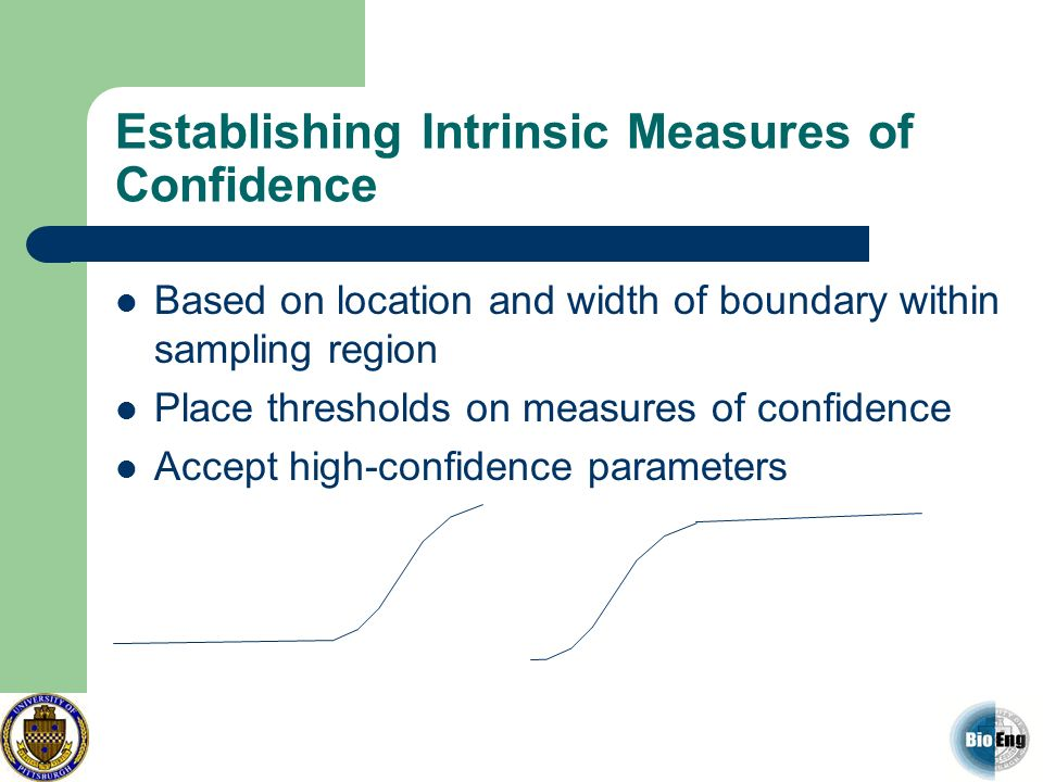 Establishing Intrinsic Measures of Confidence Based on location and width of boundary within sampling region Place thresholds on measures of confidenc