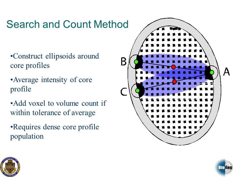 Search and Count Method Construct ellipsoids around core profiles Average intensity of core profile Add voxel to volume count if within tolerance of a