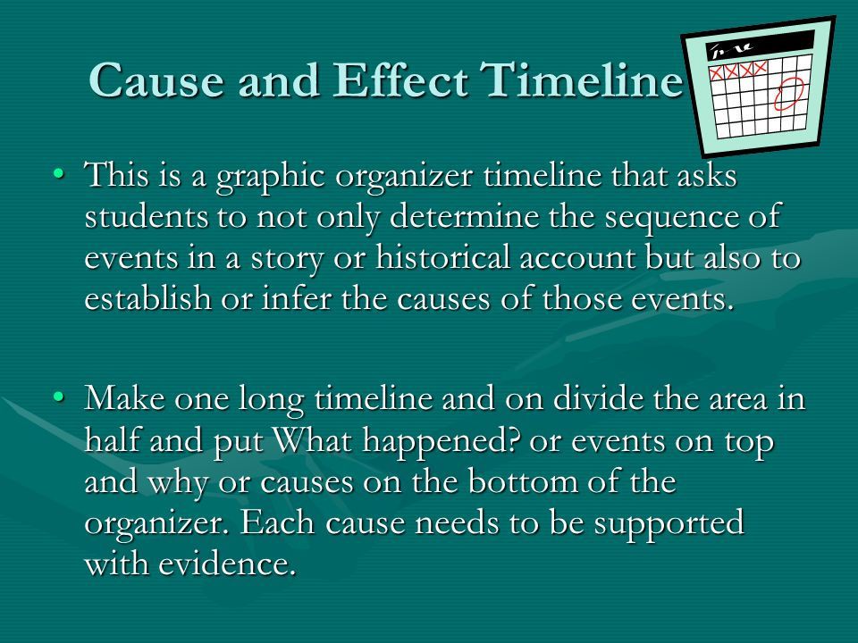 Cause and Effect Timeline This is a graphic organizer timeline that asks students to not only determine the sequence of events in a story or historica
