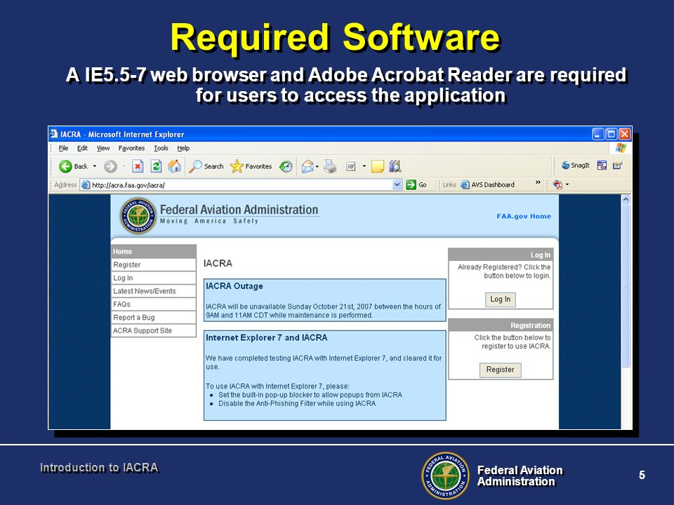 Federal Aviation Administration Federal Aviation Administration 5 Introduction to IACRA Required Software A IE5.5-7 web browser and Adobe Acrobat Read
