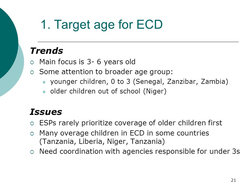 21 1. Target age for ECD Trends Main focus is 3- 6 years old Some attention to broader age group: younger children, 0 to 3 (Senegal, Zanzibar, Zambia)