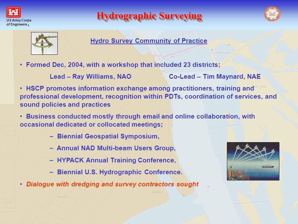 Hydrographic Surveying US Army Corps of Engineers ® Hydro Survey Community of Practice Formed Dec, 2004, with a workshop that included 23 districts; L