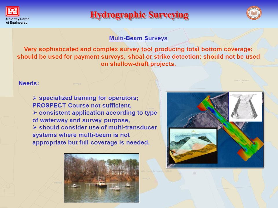 Hydrographic Surveying US Army Corps of Engineers ® Multi-Beam Surveys Very sophisticated and complex survey tool producing total bottom coverage; sho