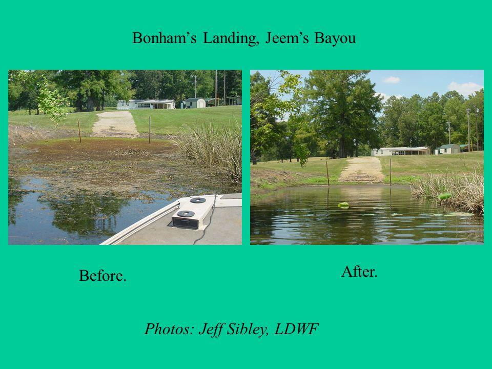 Bonhams Landing, Jeems Bayou Before. After. Photos: Jeff Sibley, LDWF