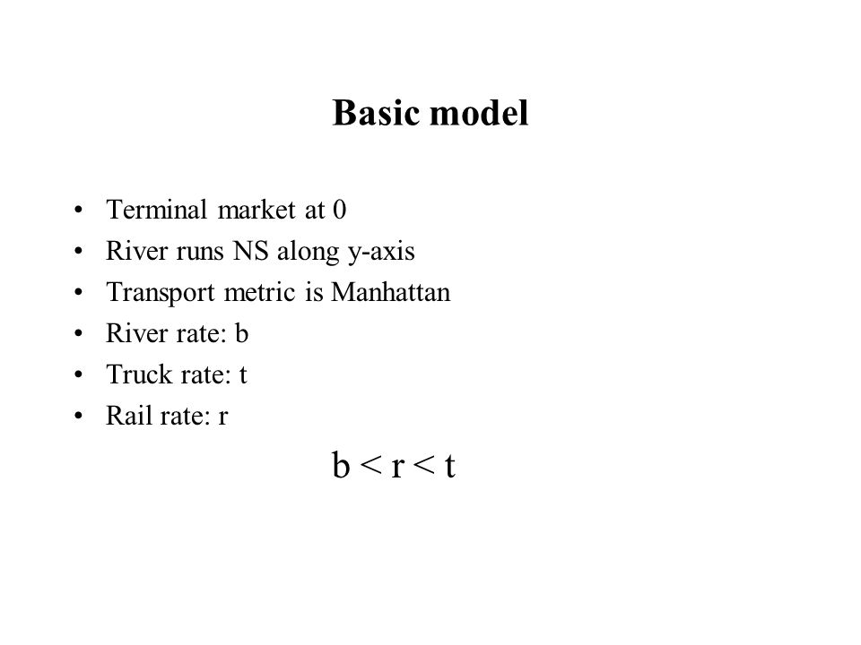 Basic model Terminal market at 0 River runs NS along y-axis Transport metric is Manhattan River rate: b Truck rate: t Rail rate: r b < r < t