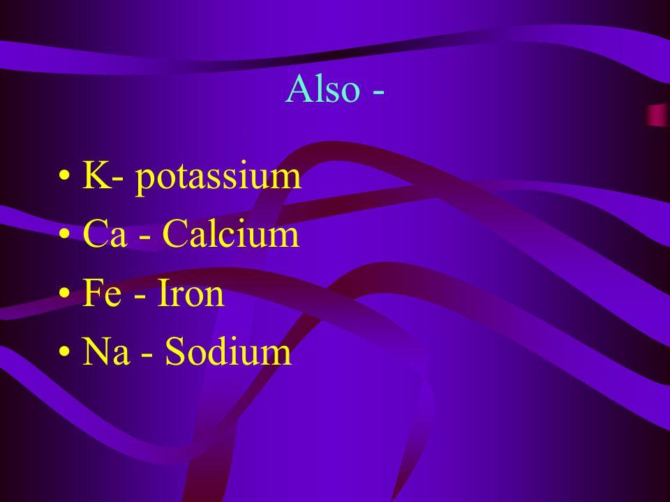 Six major elements in cells C - Carbon H - Hydrogen N - Nitrogen O - Oxygen P - Phosphorus S - Sulfur