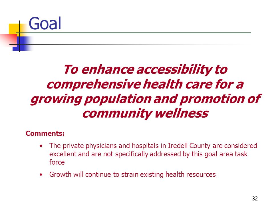 32 Goal To enhance accessibility to comprehensive health care for a growing population and promotion of community wellness Comments: The private physi