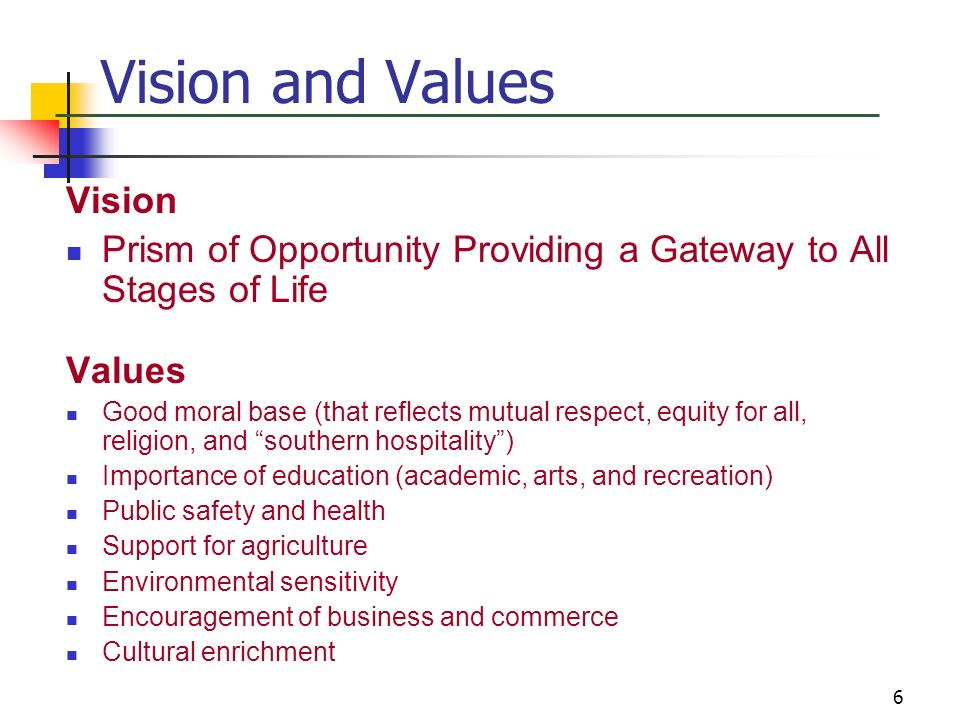 6 Vision and Values Vision Prism of Opportunity Providing a Gateway to All Stages of Life Values Good moral base (that reflects mutual respect, equity