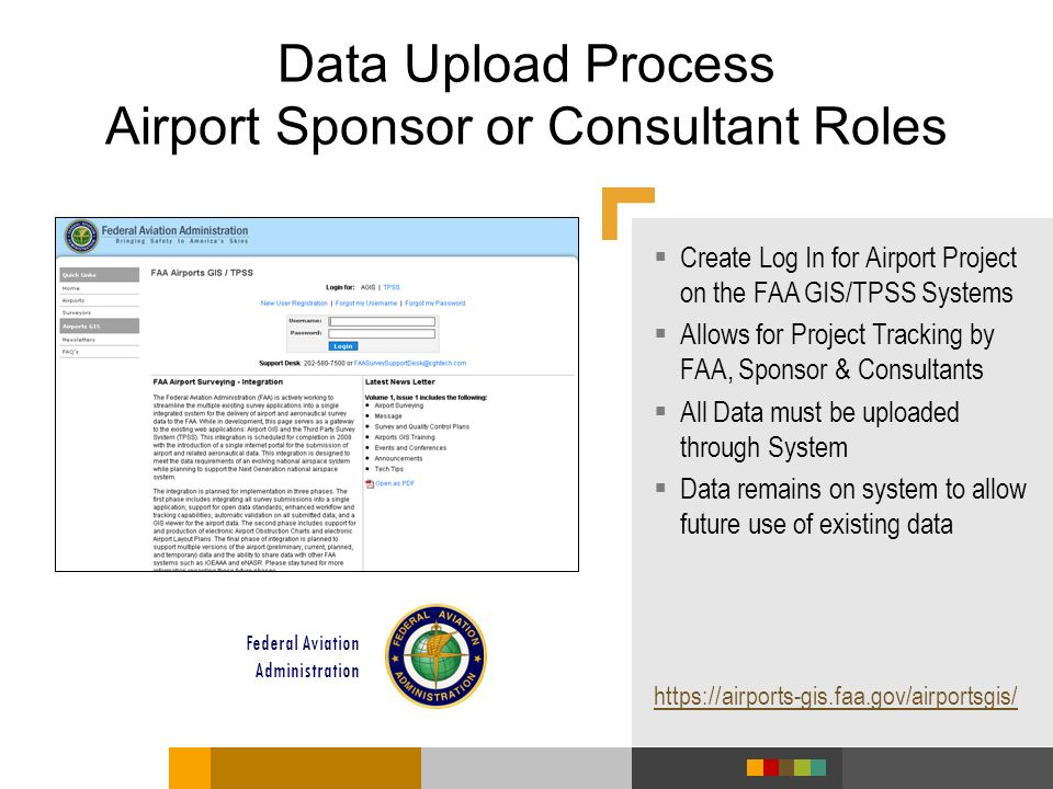 Data Upload Process Airport Sponsor or Consultant Roles Create Log In for Airport Project on the FAA GIS/TPSS Systems Allows for Project Tracking by F
