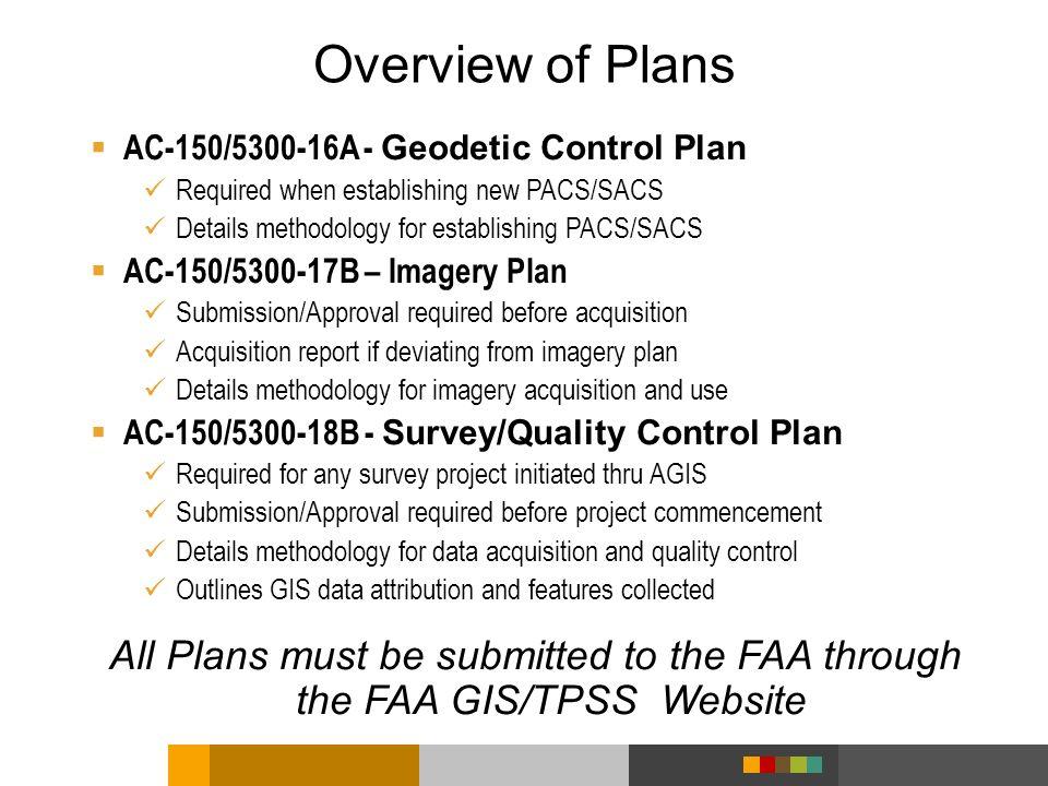 AC-150/5300-16A - Geodetic Control Plan Required when establishing new PACS/SACS Details methodology for establishing PACS/SACS AC-150/5300-17B – Imag