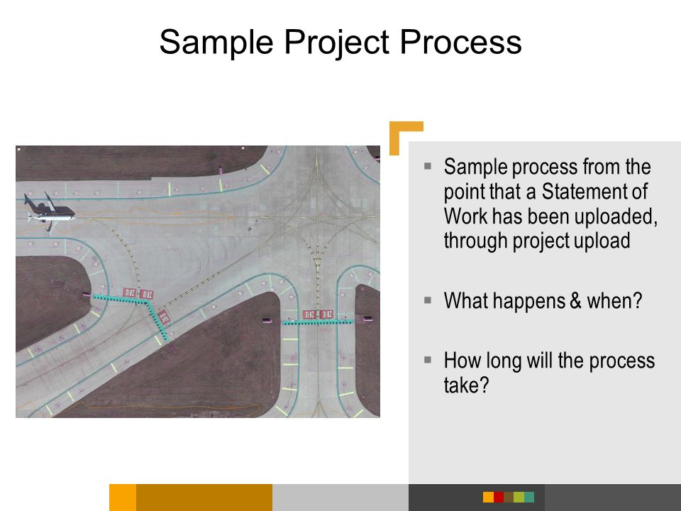Sample Project Process Sample process from the point that a Statement of Work has been uploaded, through project upload What happens & when? How long