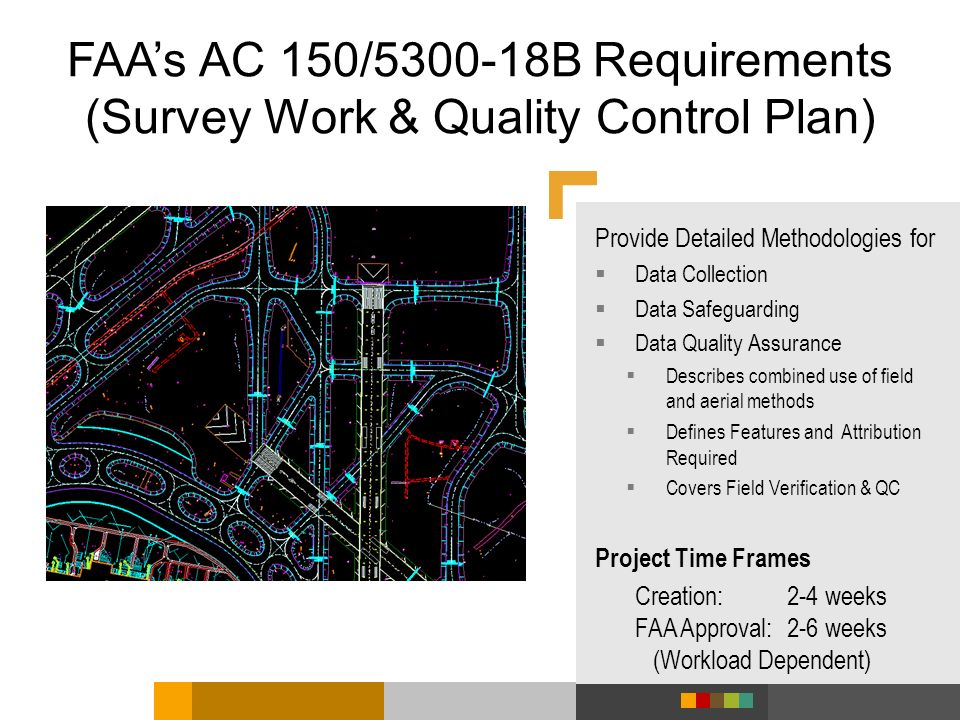 FAAs AC 150/5300-18B Requirements (Survey Work & Quality Control Plan) Provide Detailed Methodologies for Data Collection Data Safeguarding Data Quali