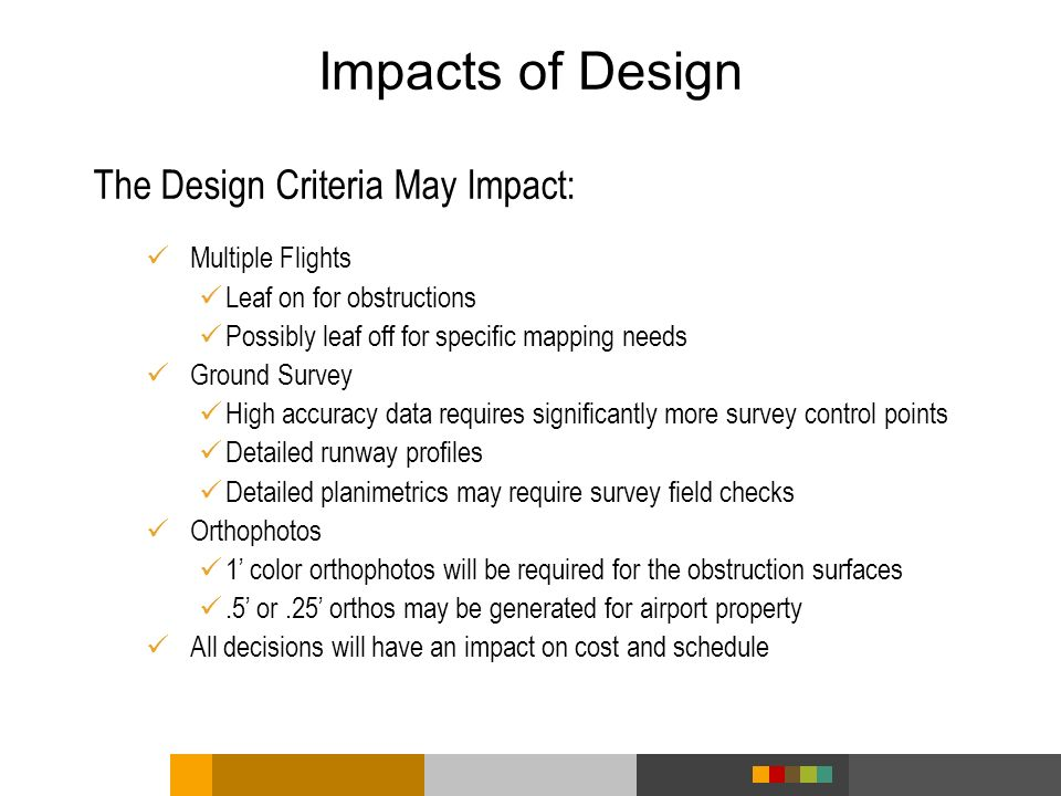 Impacts of Design The Design Criteria May Impact: Multiple Flights Leaf on for obstructions Possibly leaf off for specific mapping needs Ground Survey