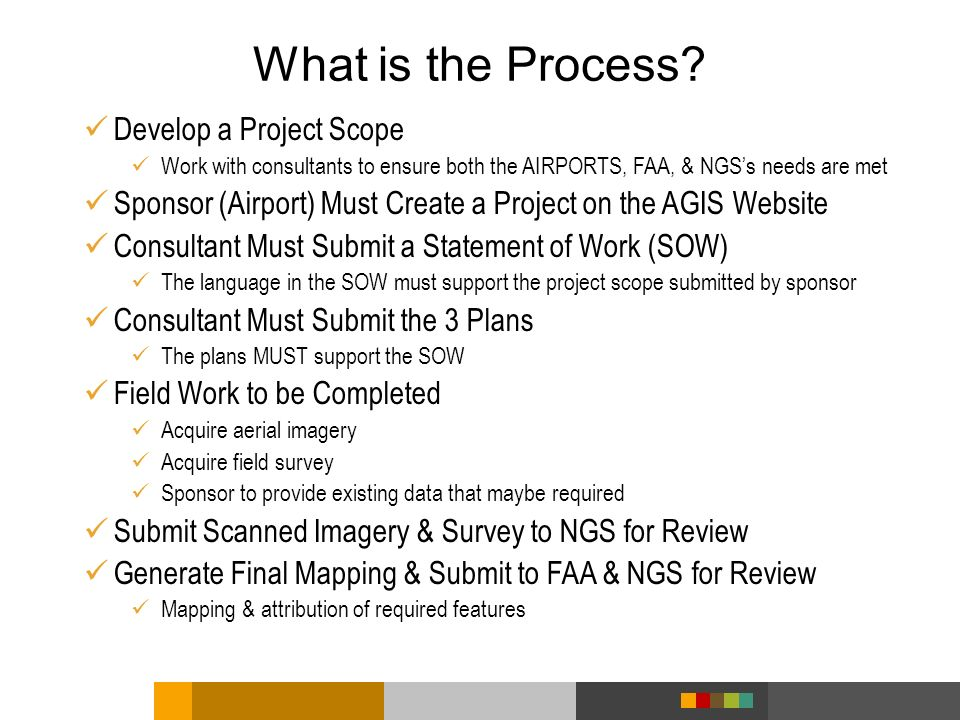 Develop a Project Scope Work with consultants to ensure both the AIRPORTS, FAA, & NGSs needs are met Sponsor (Airport) Must Create a Project on the AG
