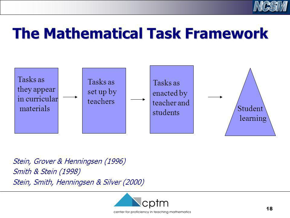 18 The Mathematical Task Framework Tasks as set up by teachers Tasks as they appear in curricular materials Tasks as enacted by teacher and students S