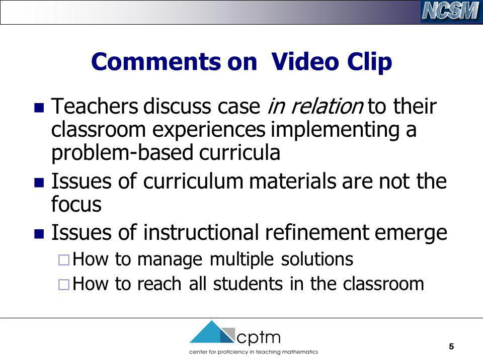 6 Implementation Plateau Characterized by teachers who participated in curriculum centered professional development during the implementation of a standards-based mathematics program Teachers are familiar and confident using new program features such as: new lesson format designs, Student tasks that require eliciting and evaluating student s written mathematical explanations, and Investigations that utilize various grouping structures in the classroom Teachers are generally committed to their own use of the new materials