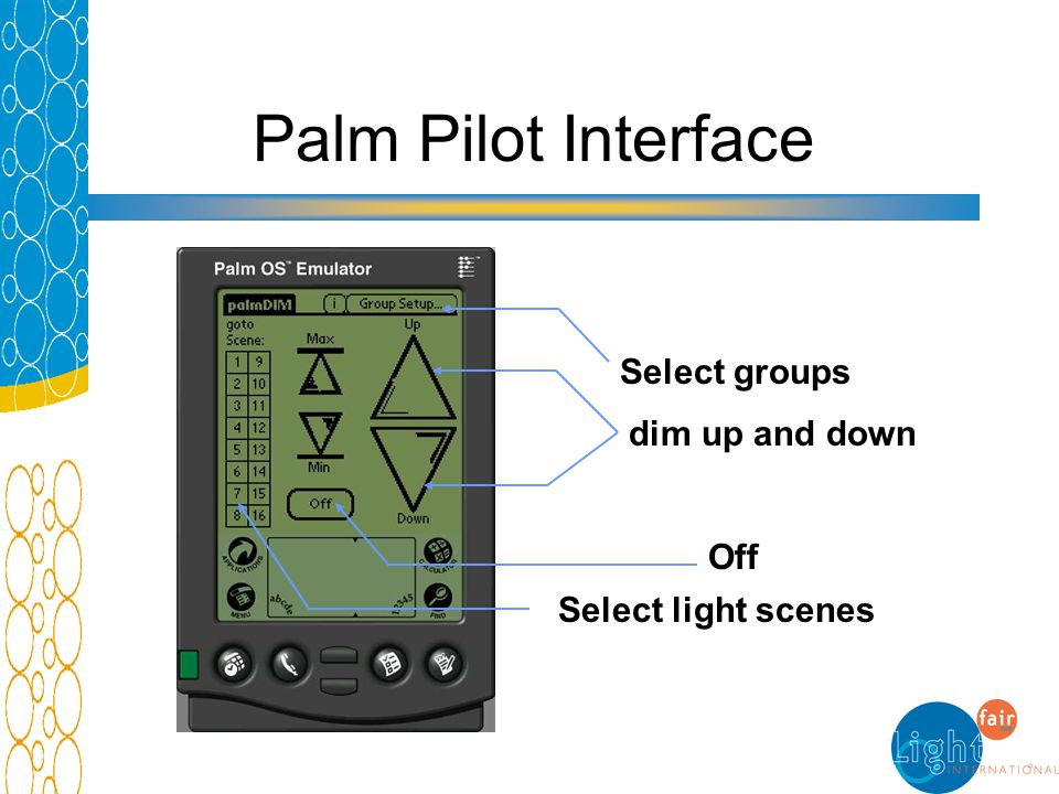 Palm Pilot Interface dim up and down Select groups Select light scenes Off