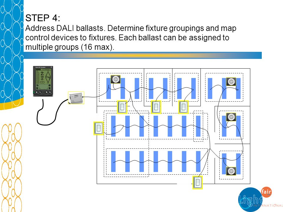 STEP 4: Address DALI ballasts. Determine fixture groupings and map control devices to fixtures. Each ballast can be assigned to multiple groups (16 ma
