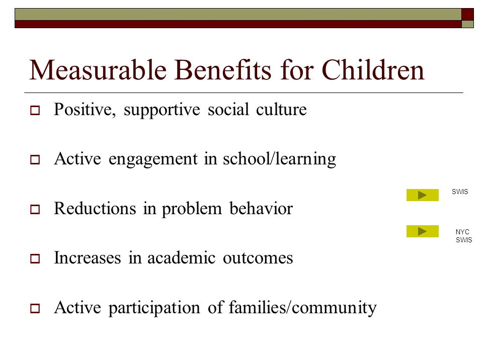 Measurable Benefits for Children Positive, supportive social culture Active engagement in school/learning Reductions in problem behavior Increases in