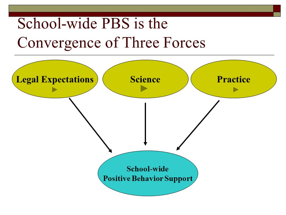 School-wide PBS is the Convergence of Three Forces PracticeScienceLegal Expectations School-wide Positive Behavior Support