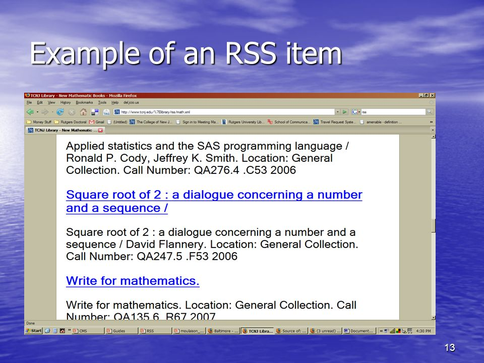 13 Example of an RSS item