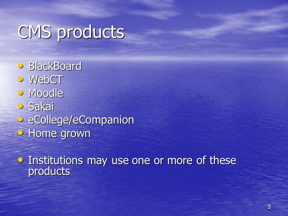 3 CMS products BlackBoard BlackBoard WebCT WebCT Moodle Moodle Sakai Sakai eCollege/eCompanion eCollege/eCompanion Home grown Home grown Institutions