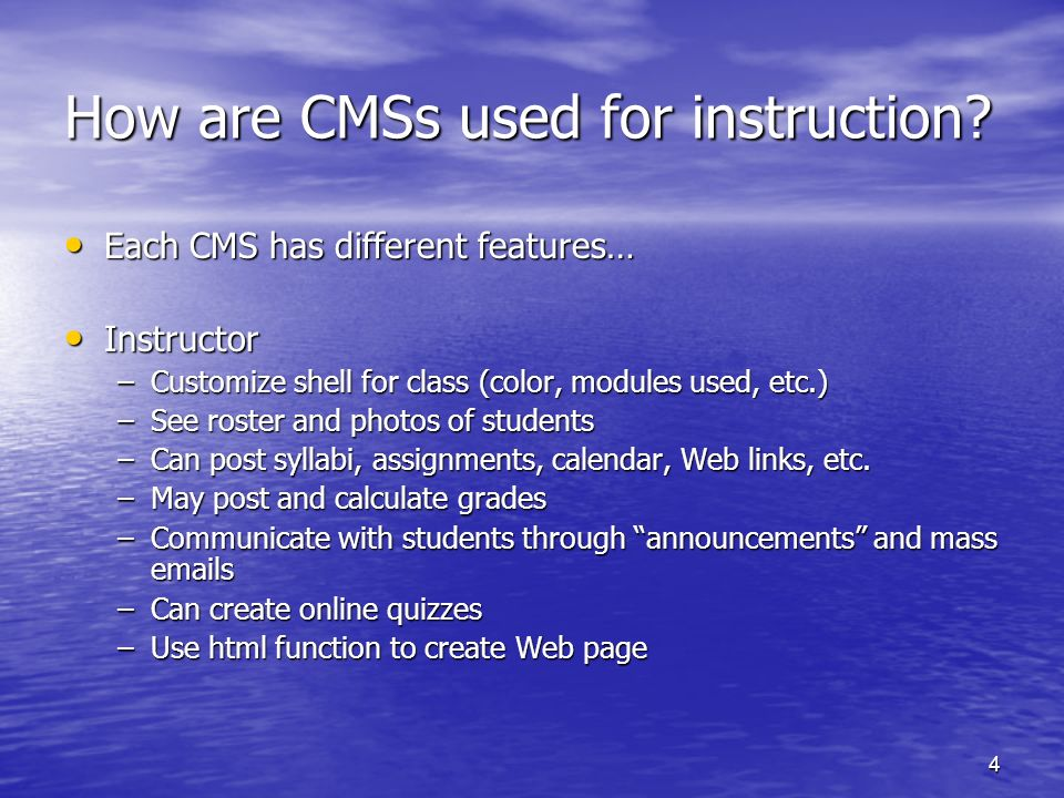 5 CMS for users Students Students –Post preferred contact information, customize space (add personal photo, etc.) –Use online discussion boards –Use chat rooms (workspace for group projects) –Submit assignments electronically –Check course reserves (library presence!) Librarians Librarians –May be included with student status in a class –Some systems allow to be added as TA or even librarian