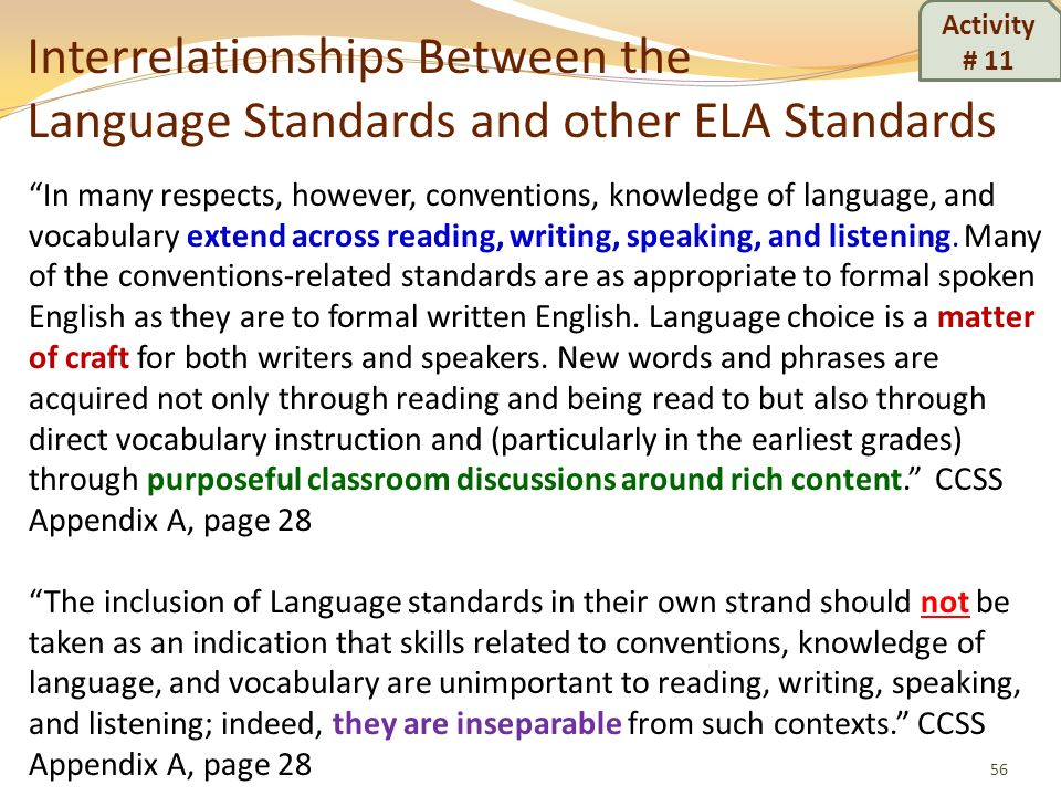 Interrelationships Between the Language Standards and other ELA Standards 56 In many respects, however, conventions, knowledge of language, and vocabu