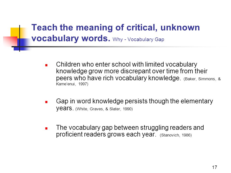 17 Teach the meaning of critical, unknown vocabulary words. Why - Vocabulary Gap Children who enter school with limited vocabulary knowledge grow more