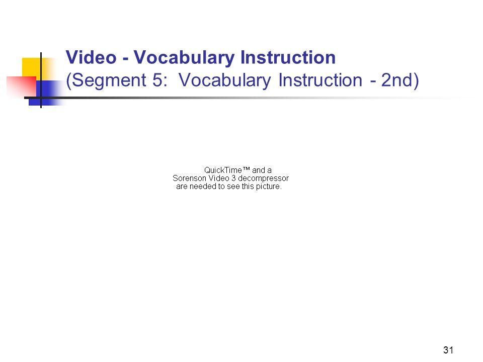 31 Video - Vocabulary Instruction (Segment 5: Vocabulary Instruction - 2nd)