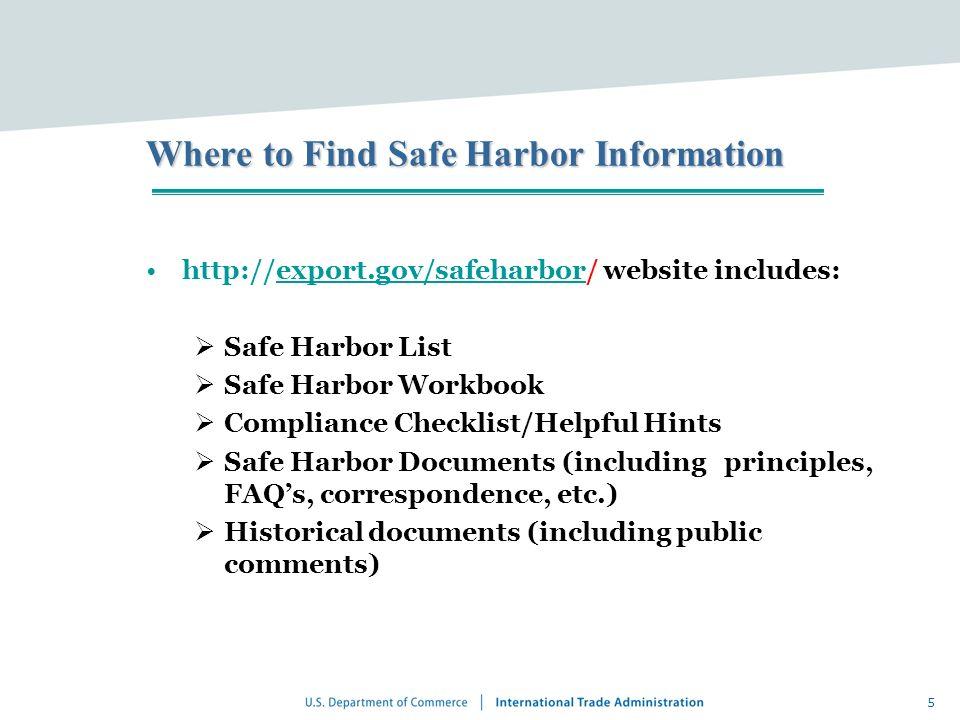 5 Where to Find Safe Harbor Information http://export.gov/safeharbor/ website includes:export.gov/safeharbor Safe Harbor List Safe Harbor Workbook Com