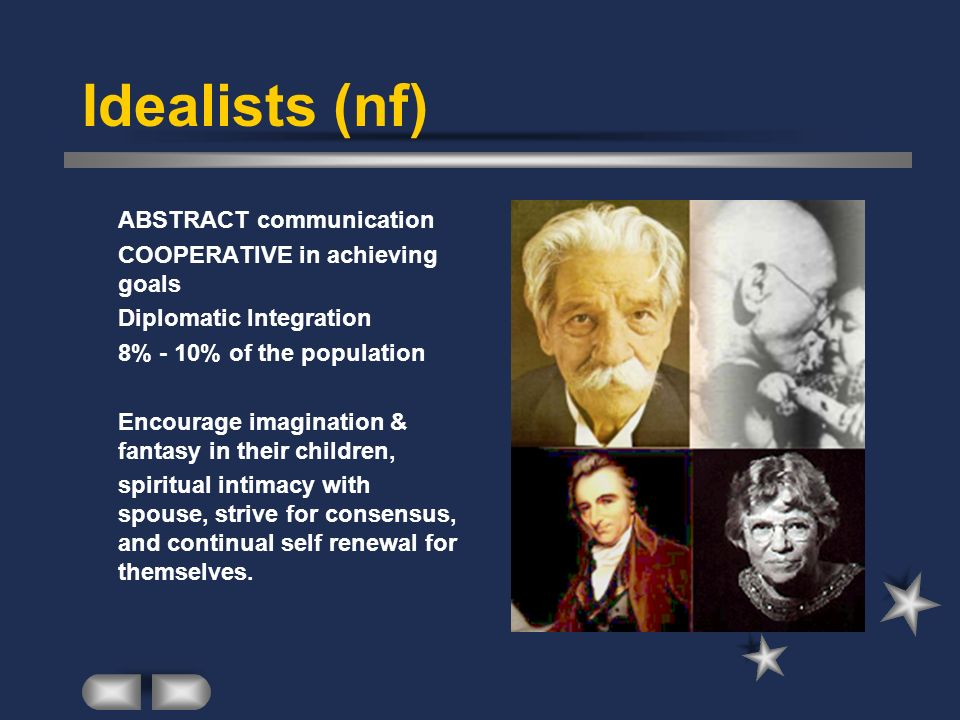 Idealists (nf) ABSTRACT communication COOPERATIVE in achieving goals Diplomatic Integration 8% - 10% of the population Encourage imagination & fantasy
