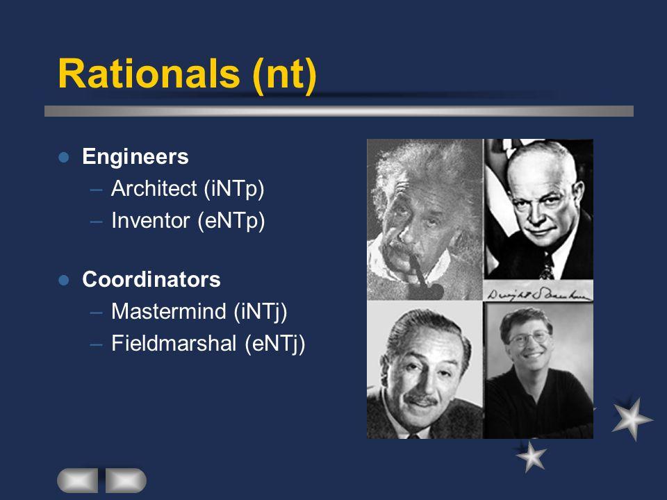 Rationals (nt) Engineers –Architect (iNTp) –Inventor (eNTp) Coordinators –Mastermind (iNTj) –Fieldmarshal (eNTj)