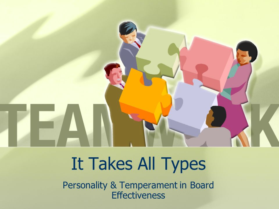 It Takes All Types Personality & Temperament in Board Effectiveness