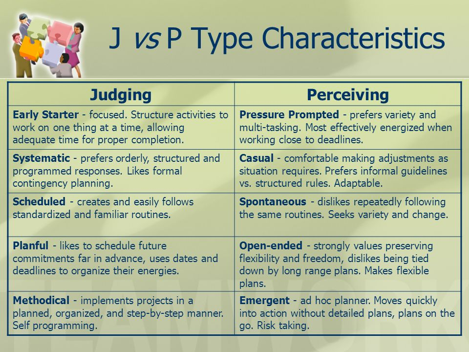 J vs P Type Characteristics JudgingPerceiving Early Starter - focused. Structure activities to work on one thing at a time, allowing adequate time for