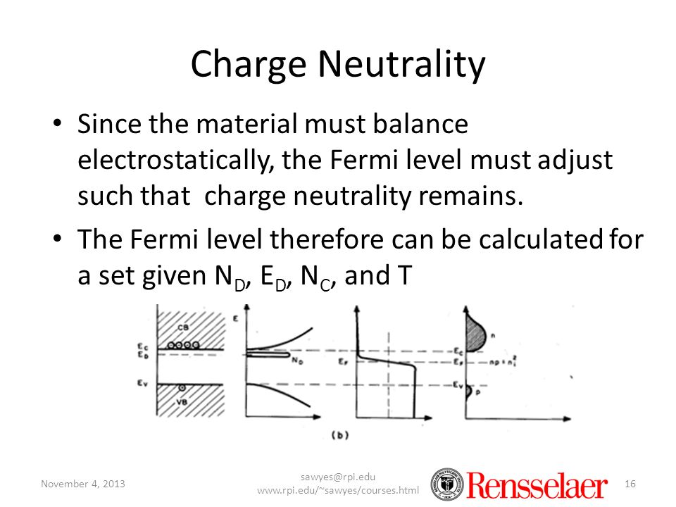 Charge Neutrality Since the material must balance electrostatically, the Fermi level must adjust such that charge neutrality remains. The Fermi level
