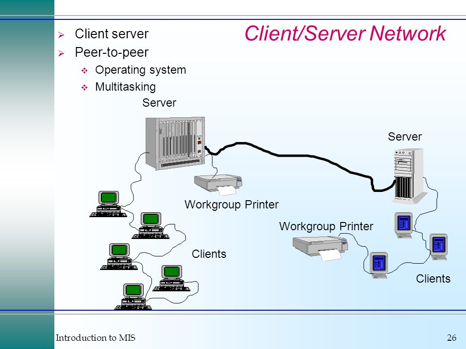 Introduction to MIS26 Client/Server Network Client server Peer-to-peer Operating system Multitasking Server Clients Workgroup Printer