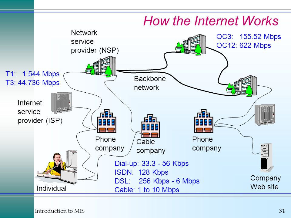 Introduction to MIS31 How the Internet Works Individual Internet service provider (ISP) Phone company Network service provider (NSP) Backbone network