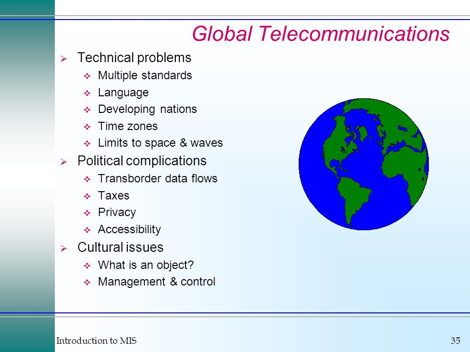 Introduction to MIS35 Global Telecommunications Technical problems Multiple standards Language Developing nations Time zones Limits to space & waves P