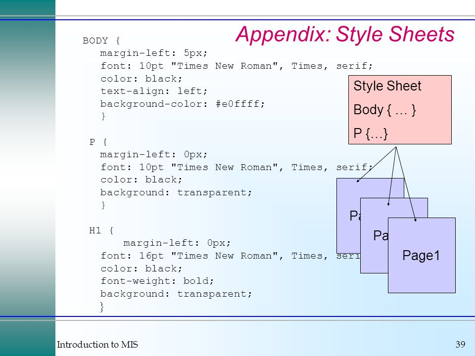 Introduction to MIS39 Appendix: Style Sheets BODY { margin-left: 5px; font: 10pt