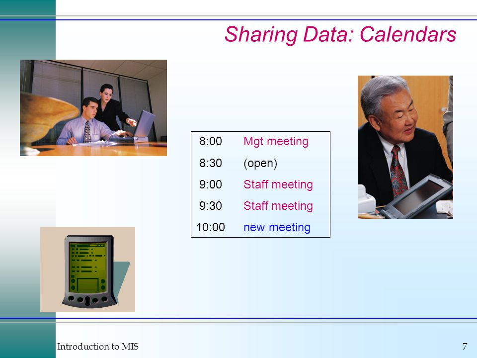Introduction to MIS7 Sharing Data: Calendars 8:00Mgt meeting 8:30(open) 9:00Staff meeting 9:30Staff meeting 10:00new meeting