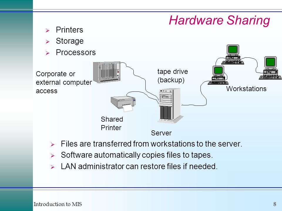 Introduction to MIS8 Hardware Sharing Printers Storage Processors Files are transferred from workstations to the server. Software automatically copies